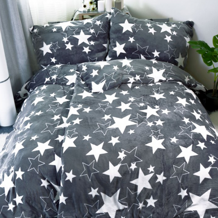 Mikroplyšové povlečení šedé Hvězdy